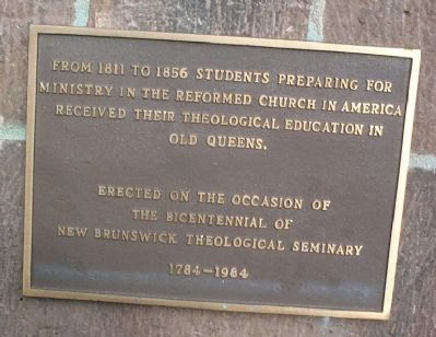 Theological Education in Old Queens Marker image. Click for full size.