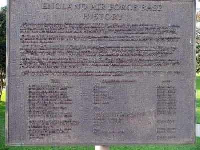 England Air Force Base History Marker image. Click for full size.