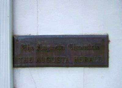The Augusta Chronicle The Augusta Herald, Plaque at left of doorway image. Click for full size.