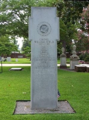 Colonel William Few, Jr. Marker </b>(reverse) image. Click for full size.