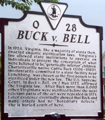 Buck v. Bell [Q-28] Marker image. Click for full size.