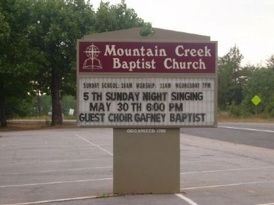 Mountain Creek Baptist Church Roadsign image. Click for full size.