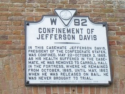Confinement of Jefferson Davis Marker image. Click for full size.