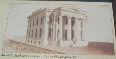 An 1835 sketch of St. George's Hall in Philadelphia, PA. image. Click for full size.