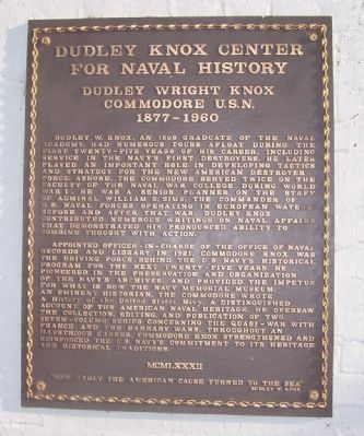 Dudley Knox Center for Naval History Marker image. Click for full size.
