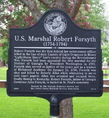 U.S. Marshall Robert Forsyth Marker image. Click for full size.
