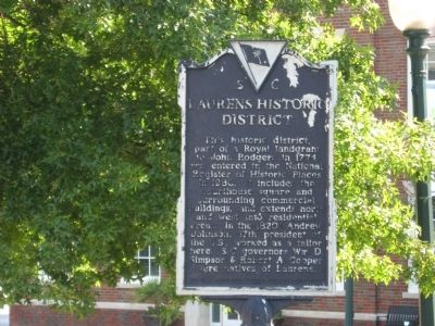 Laurens Historic District Marker image. Click for full size.