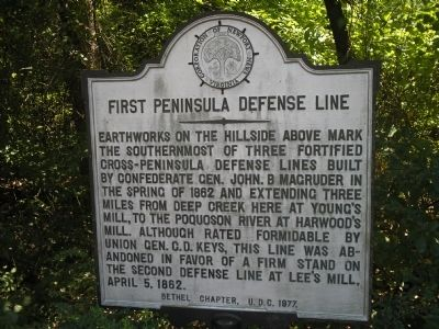 First Peninsula Defense Line Marker image. Click for full size.