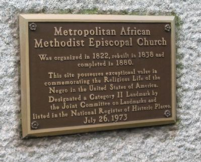 Metropolitan African Methodist Episcopal Church Marker image. Click for full size.
