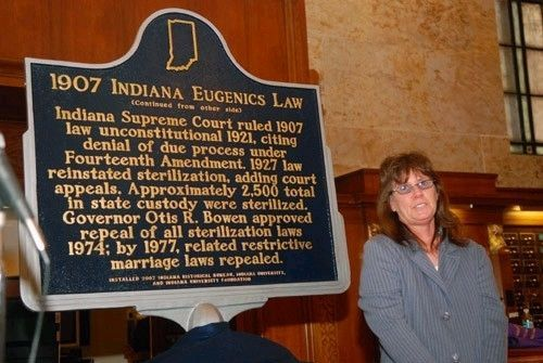 1907 Indiana Eugenics Law Marker with Linda Sparkman, sterilization survivor image. Click for full size.