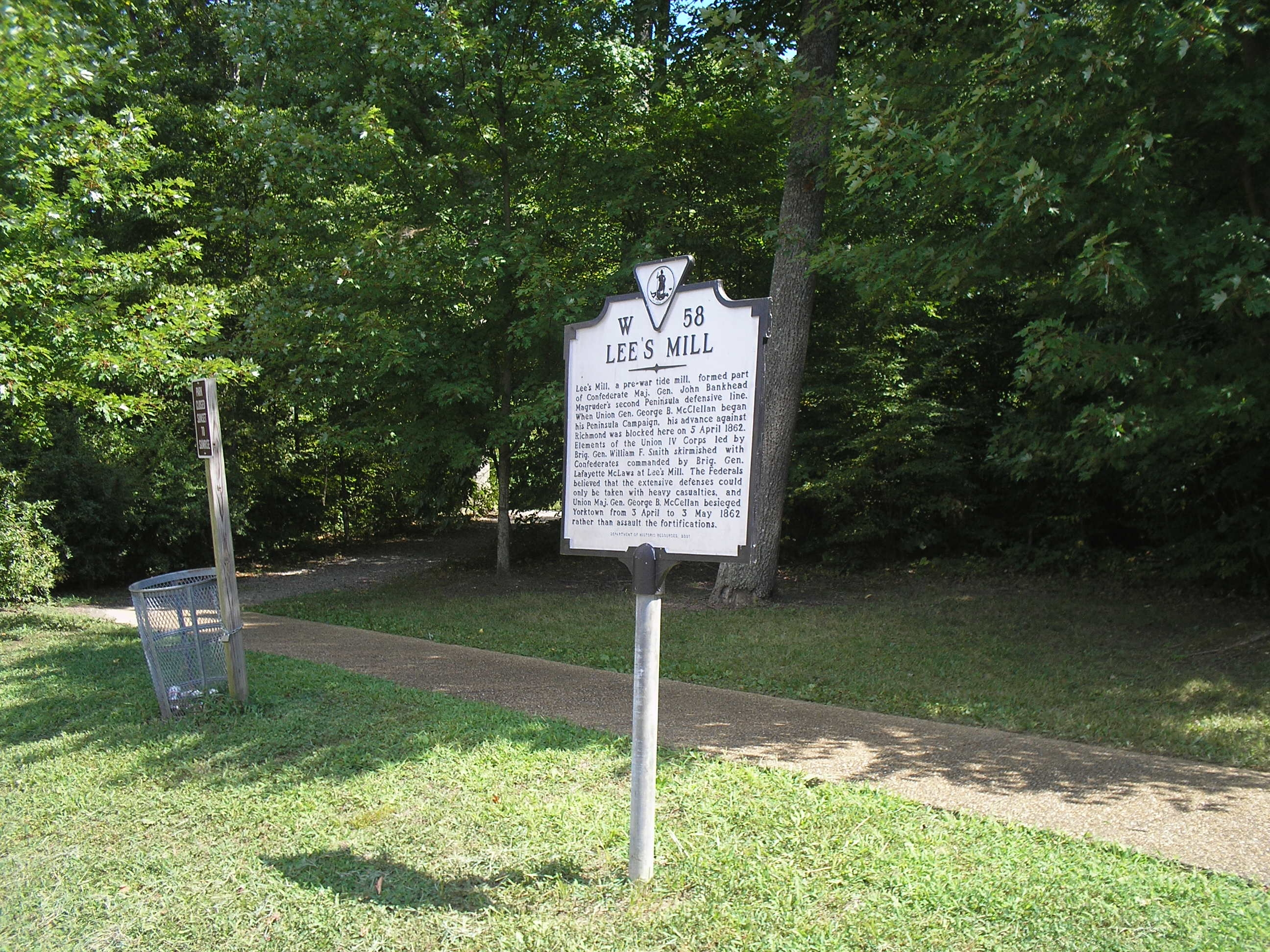 Marker in Lee's Mill Historic Park