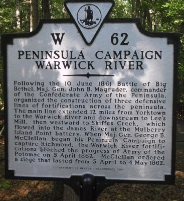Peninsula Campaign Warwick River Marker image. Click for full size.
