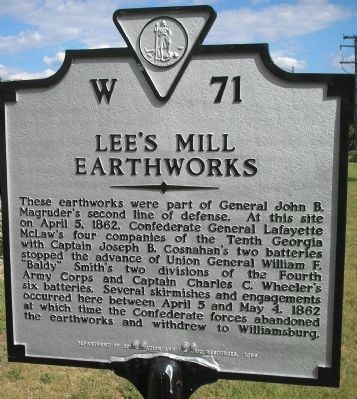 Lee's Mill Earthworks Marker image. Click for full size.