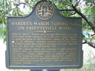 Hardee's March Turned N.E. on Fayetteville Road Marker image. Click for full size.
