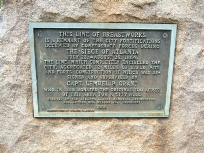 This line of breastworks Marker image. Click for full size.