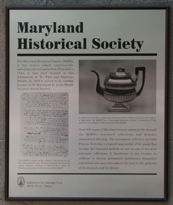 Maryland Historical Society Marker image. Click for full size.