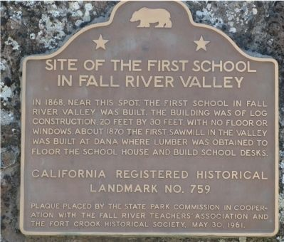 Site of First School in Fall River Valley Marker image. Click for full size.