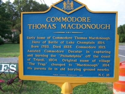 Commodore Thomas Macdonough Marker image. Click for full size.