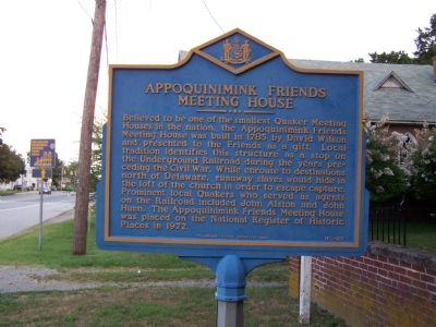 Appoquinimink Friends Meeting House Marker image. Click for full size.