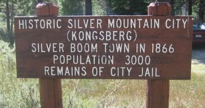 Sign Marking the Location of the Old City Jail Foundation - Silver Mountain City image. Click for full size.