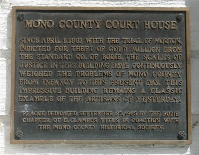 Mono County Court House Marker image. Click for full size.