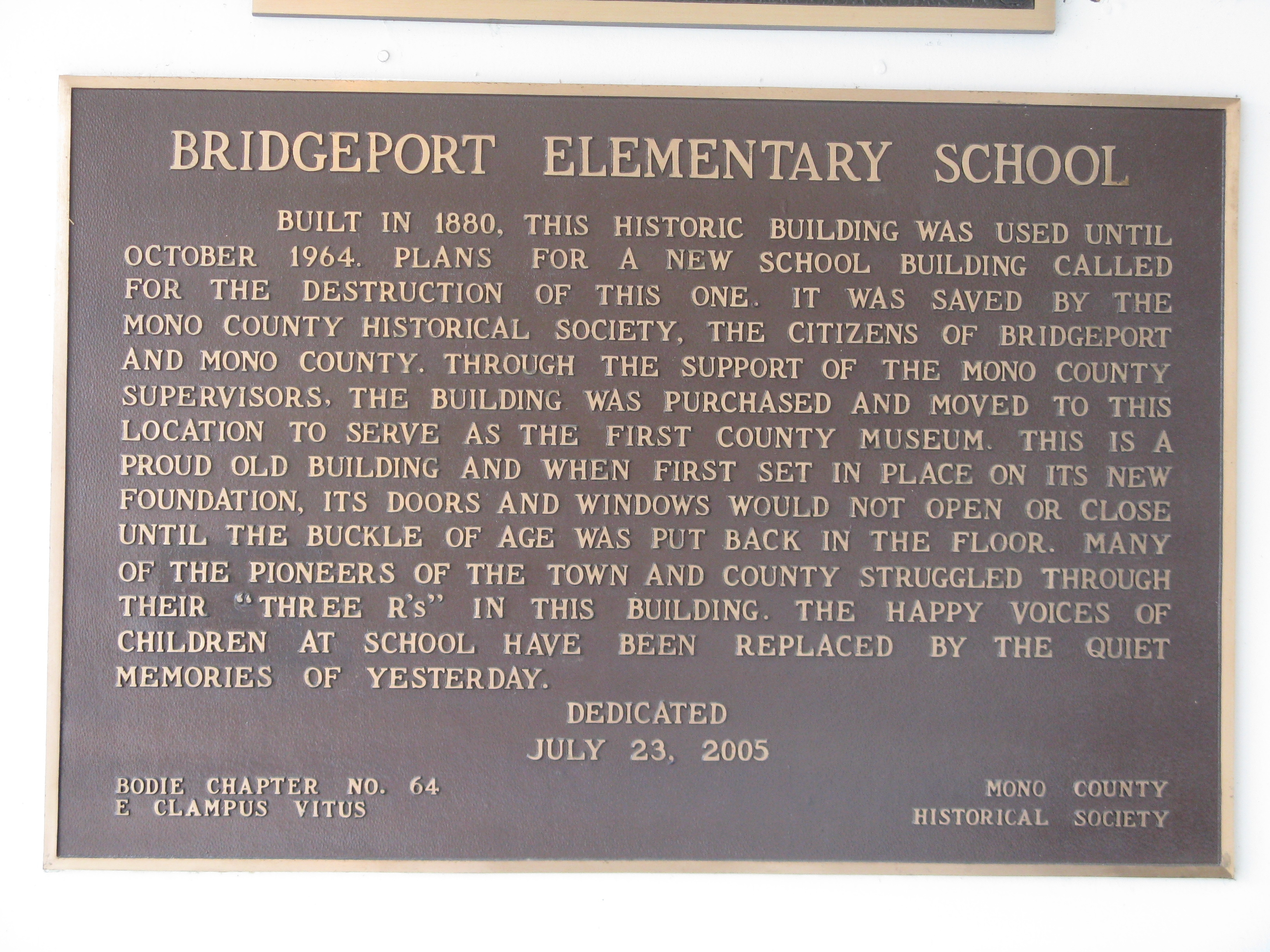 Bridgeport Elementary School Marker