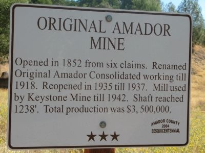 Original Amador Mine Marker image. Click for full size.