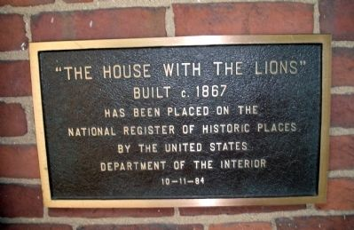 The House With The Lions Marker image. Click for full size.