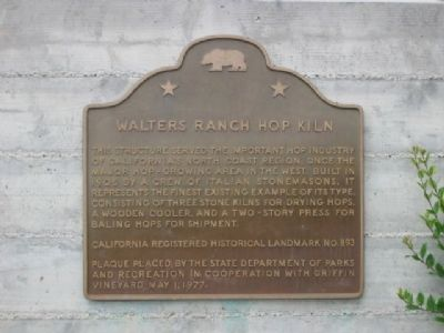 Walters Ranch Hop Kiln Marker image. Click for full size.