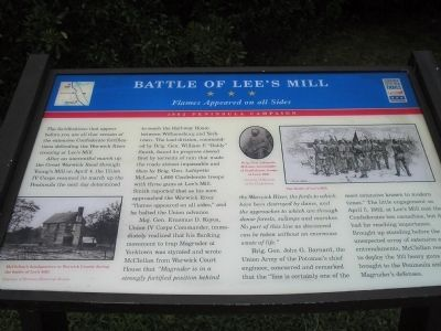 Battle of Lee's Mill Marker image. Click for full size.