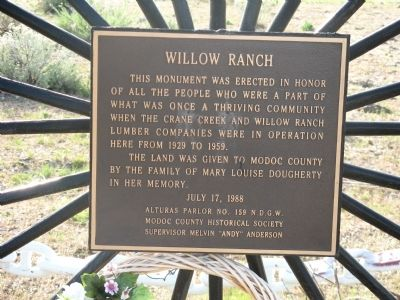 Willow Ranch Marker image. Click for full size.
