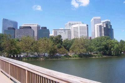 View from footbridge toward Rosslyn, Arlington, County, VA image. Click for full size.