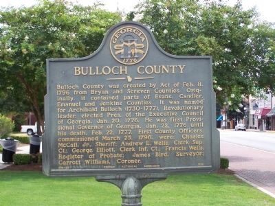Bulloch County Marker image. Click for full size.