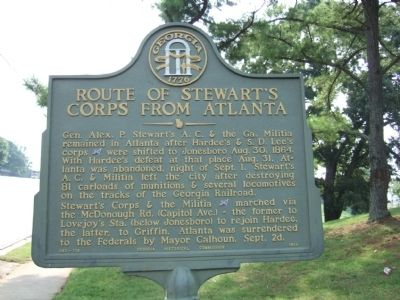 Route of Stewart's Corps from Atlanta Marker image. Click for full size.
