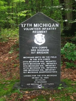 Front of 17th Michigan Vol. Inf. Reg. Monument image. Click for full size.