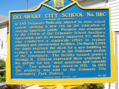 Delaware City School No. 118C Marker image. Click for full size.