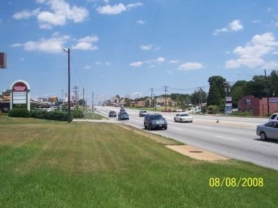 View of Wade Hampton Blvd. From Camp Sevier Marker looking North image. Click for full size.