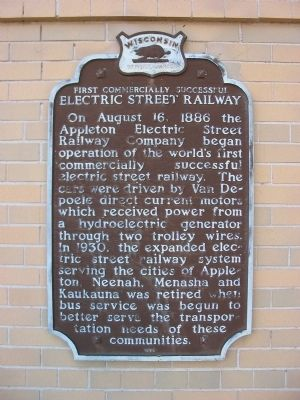 First Commercially Successful Electric Street Railway Marker image. Click for full size.