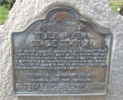 Tule River Stage Station Marker image. Click for full size.
