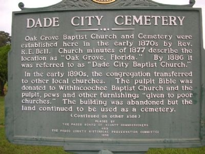 Dade City Cemetery Marker image. Click for full size.