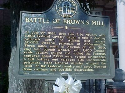 Battle of Brown's Mill Marker image. Click for full size.