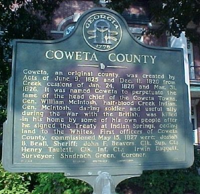 Coweta County Marker image. Click for full size.
