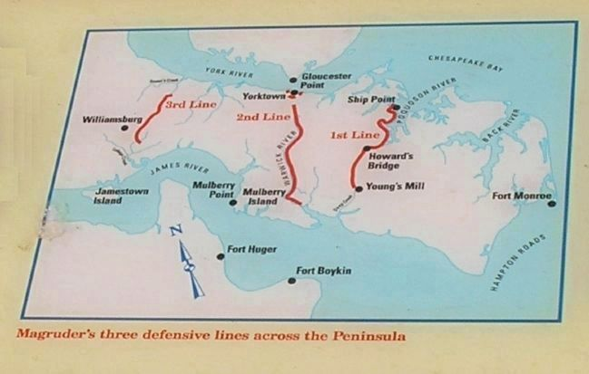 Confederate Defenses on the Peninsula image. Click for full size.