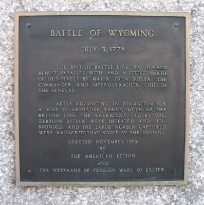 Battle of Wyoming Marker image. Click for full size.