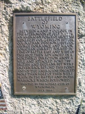 Battlefield of Wyoming Marker image. Click for full size.