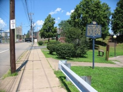 Lackawanna Iron Marker and Entrance to Scranton Iron Furnace Park image. Click for full size.