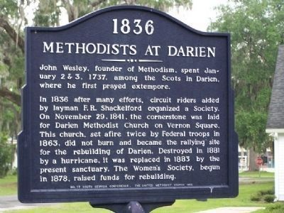Methodists at Darien Marker image. Click for full size.