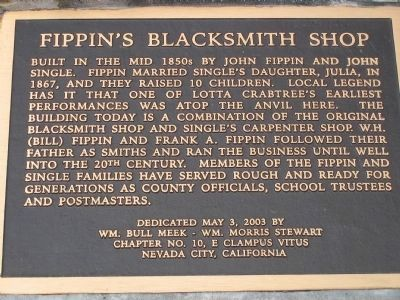 Fippin's Blacksmith Shop Marker image. Click for full size.