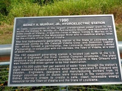 Sidney A. Murray, Jr., Hydroelectric Station Marker image. Click for full size.