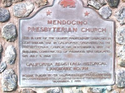 Mendocino Presbyterian Church Marker image. Click for full size.